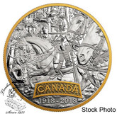 Canada: 2018 $20 First World War Allies: Canada Pure Silver Gold-Plated Coin
