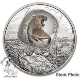 Canada: 2018 $20 Frozen In Ice: Scimitar Sabre-toothed Cat Pure Silver Coloured Coin