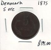 Denmark: 1875 5 Ore
