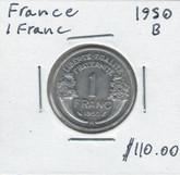 France: 1950B 1 Franc Better Date AU / UNC