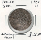 France: 1720H Silver 1/3 Ecu