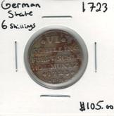 German States: Schleswig-Holstein-Gottorp: 1723 Silver 6 Schillings