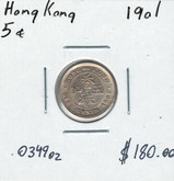 Hong Kong: 1901 Silver 5 Cents
