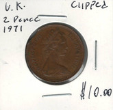 Great Britain: 1971 2 Pence Clipped