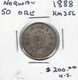 Norway: 1888 50 Ore