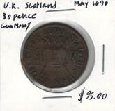 Scotland: 1690 30 Pence Gun Money
