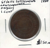 Straits Settlements: 1880 1 Cent Contemporary Forgery