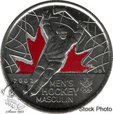 Canada: 2009 25 Cent Men's Hockey Coloured Raised 2 BU