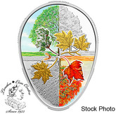 Canada: 2018 $20 Four Seasons of the Maple Leaf 1 oz. Fine Silver Gold-Plated Coin