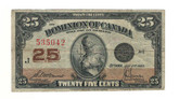 Canada: 1923 25 Cent Banknote Dominion of Canada DC-24c lot#53
