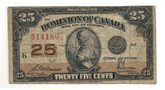 Canada: 1923 25 Cent Banknote Dominion of Canada DC-24c lot#54