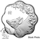 Canada: 2019 $15 Year of the Pig Pure Silver Lunar Lotus Coin