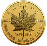 Canada: 2019 25 Cents 40th Anniversary of the Gold Maple Leaf 0.5 g Pure Gold Coin