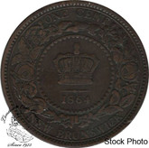 Canada: New Brunswick 1864 Large 1 Cent Short 6 VF20