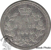 Canada: New Brunswick 1864 Silver 5 Cent Small 6 F12