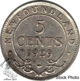 Canada: Newfoundland 1929 5 Cent Silver EF40