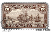 Canada: 2018 $20 Canada's Historical Stamps: Arrival of Cartier, Quebec 1535 1 oz. Pure Silver Coloured Coin
