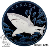 Canada: 2018 $30 Great White Shark 2 oz. Pure Silver Coin with Selective Blue Rhodium Plating