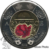 Canada: 2018 $2 Toonie Armistice Poppy BU Coloured Coin