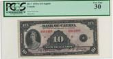 Canada: 1935 $10 Bank Of Canada PCGS VF30 (VF/EF)