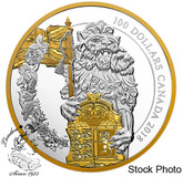 Canada: 2018 $100 Keepers of Parliament: The Lion 10 oz. Pure Silver Gold-Plated Coin
