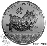Canada: 2019 $10 Year of the Pig 1/2 oz. Pure Silver Coin