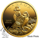 Canada: 2019 $200 Atlantic Puffins 99.999% 1 oz. Pure Gold Coin