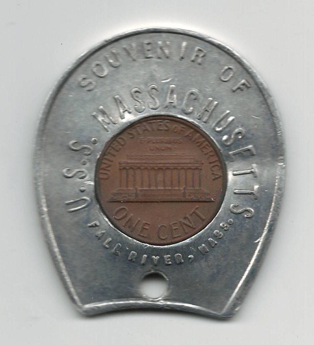1980 Encased Lucky Penny Token Souvenir of U S S  Massachusetts