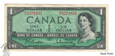Canada: 1954 $1 Bank Of Canada Banknote Beattie-Rasminsky BC-37b Circulated