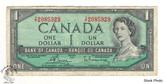 Canada: 1954 $1 Bank Of Canada Banknote Bouey-Rasminsky BC-37c Circulated