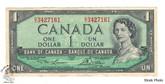 Canada: 1954 $1 Bank Of Canada Banknote Lawson-Bouey BC-37d Circulated