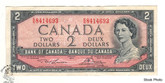 Canada: 1954 $2 Bank Of Canada Banknote Lawson-Bouey BC-38d Circulated