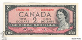 Canada: 1954 $2 Bank Of Canada Banknote Bouey-Rasminsky BC-38c Circulated