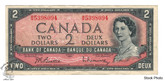 Canada: 1954 $2 Bank Of Canada Banknote Beattie-Rasminsky BC-38b Circulated