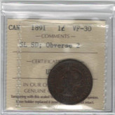 Canada: 1891 Large Cent Small Leaves Small Date Obv. 2 ICCS VF30
