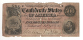 United States: 1864 $500 Confederate States Richmond