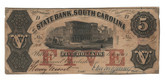 United States: 1855 $5 State Bank South Carolina