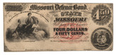 United States: 1860s $4.50 Missouri Defence Bond - Scarce