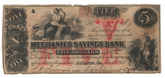 United States: 1863 $5 Mechanics Savings Bank Atlanta Georgia