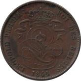 Belgium: 1844 2 Centimes EF40