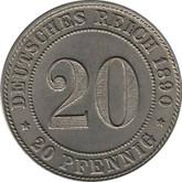 Germany: 1890J 20 Pfennig MS60