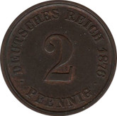 Germany: 1876J 2 Pfennig UNC with traces of red