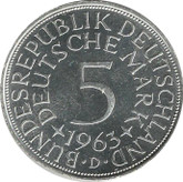 Germany: 1963D Silver 5 Mark UNC