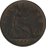 Great Britain: 1881H Farthing MS60 with traces of red