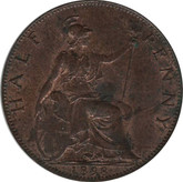 Great Britain: 1898 1/2 Penny MS60 with traces of red