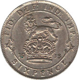 Great Britain: 1913 Silver 6 Pence AU50
