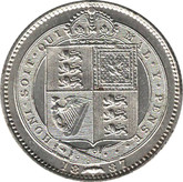 Great Britain: 1887 Silver Shilling AU50