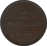 Guernsey: 1874 2 Doubles VF20