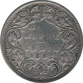 India: 1862 Silver 1/2 Rupee F12