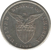 Philippines: 1908S Silver 1 Peso VF Polished